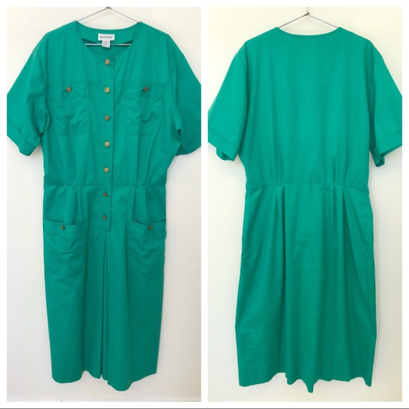 Vintage Dresses & Skirts - Vtg Tanner Green Cotton Day Dress L
